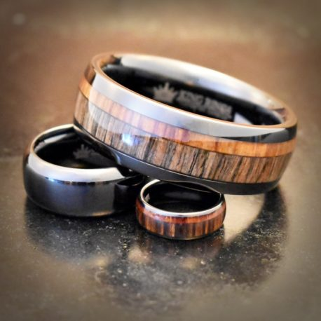 Wood Inlay Tungsten Carbide Metal Cock Ring